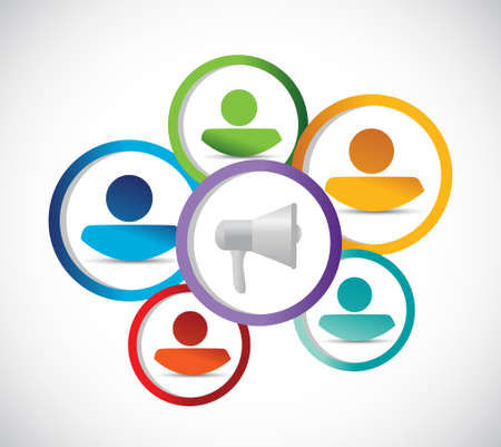 using voice: megaphone and people network illustration design graphic isolated over white