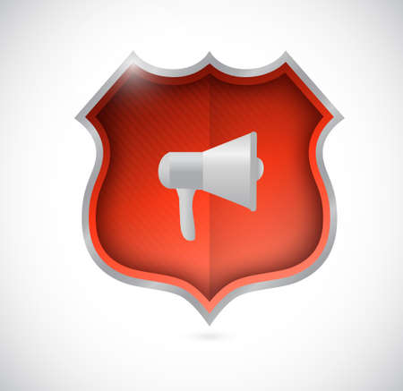 using voice: megaphone secure shield illustration design isolated over white Illustration