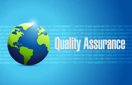 binary globe: Quality Assurance globe binary sign concept illustration design graphic