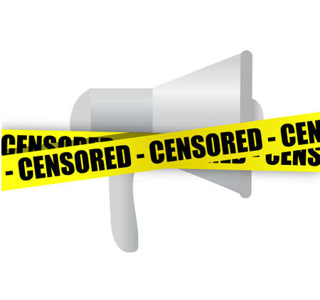 censored: megaphone and censored yellow tape illustration design graphic isolated over white