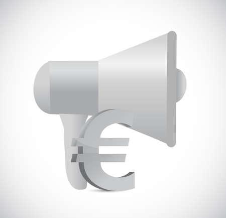 megaphone euro illustration design isolated over white Stock Illustratie