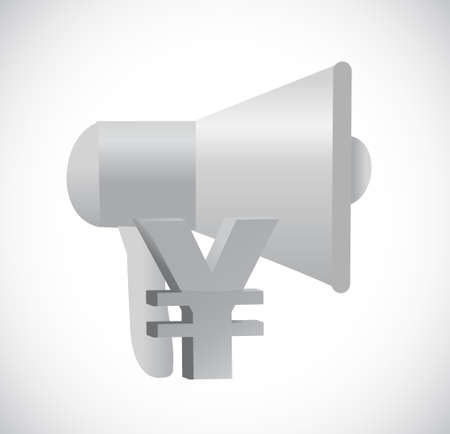using voice: megaphone yen currency illustration design isolated over white