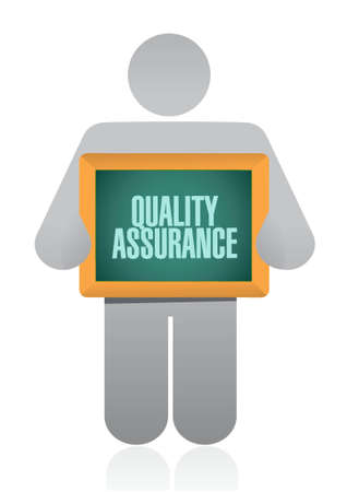 happening: Quality Assurance holding sign concept illustration design graphic Illustration