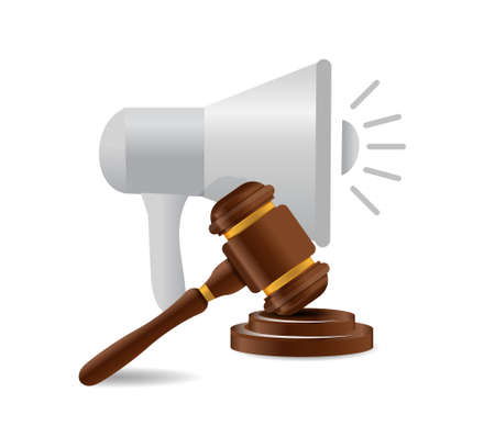 using voice: megaphone and law news illustration design graphic isolated over white Illustration