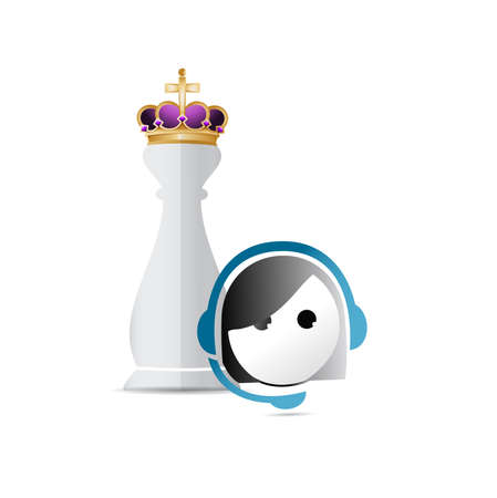 piece: Chess king piece and customer service over a white background Stock Photo