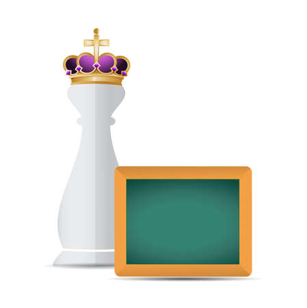 piece: Chess king piece and blackboard over a white background