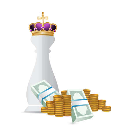 piece: Chess king piece and cash money over a white background