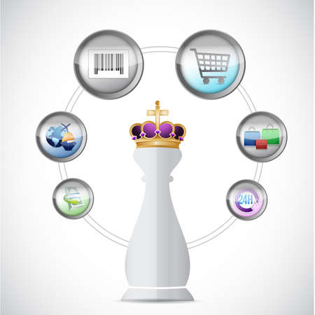 commerce: Chess king piece and commerce cycle over a white background