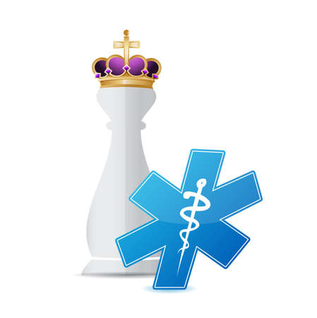 piece: Chess king piece and medical symbol over a white background