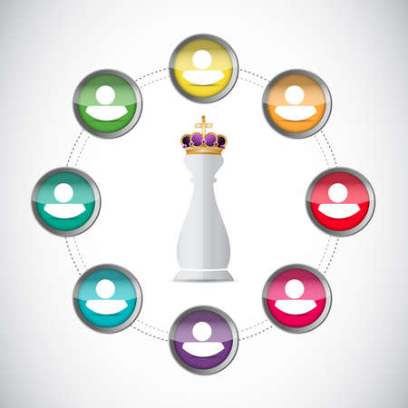linking: Chess king piece and close network over a white background