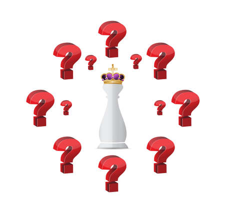 answering: Chess king piece with question marks around over a white background