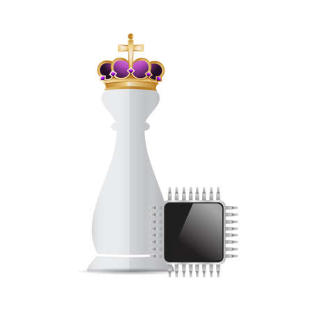 piece: Chess king piece and technology electronic over a white background
