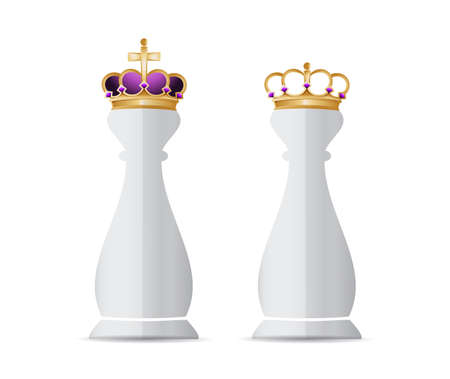 Chess king piece and queen over a white background