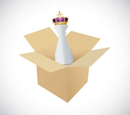 boite carton: Pièce d'échecs de roi dans une boîte sur un fond blanc
