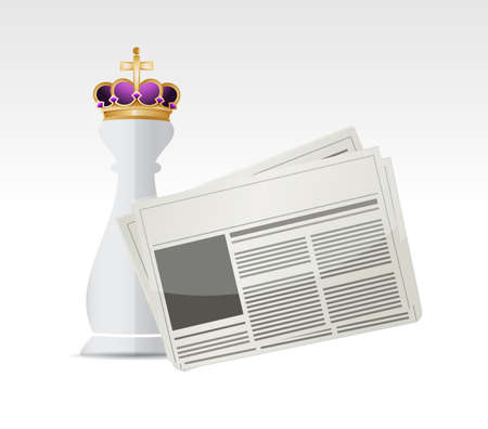 editorial: Chess king piece and newspaper over a white background Stock Photo