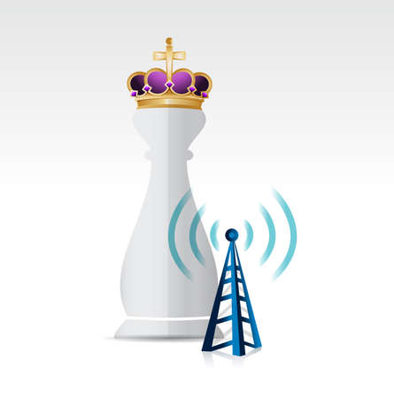 long distance: Chess king piece and a wifi connection tower over a white background