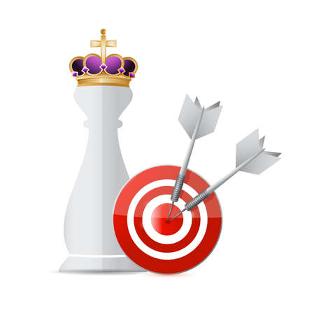 piece: Chess king piece target over a white background