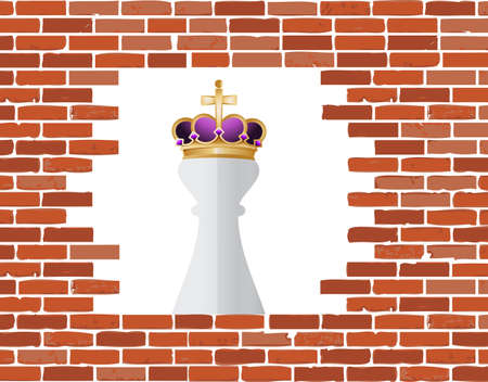 brickwall: Chess king piece behind a brickwall over a white background