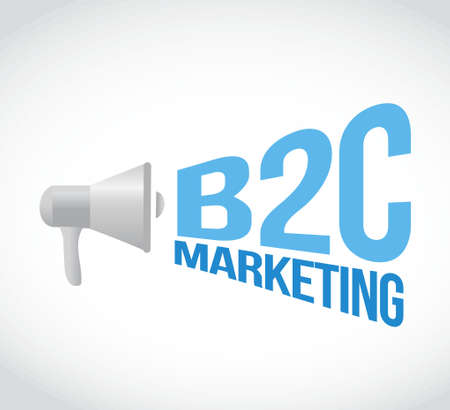 b2c: b2c marketing megaphone message concept illustration design graphic