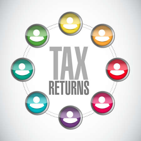 tax returns: tax returns people network sign concept illustration design graphic