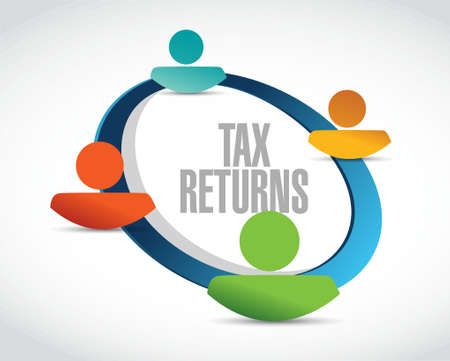 returns: tax returns community sign concept illustration design graphic Illustration