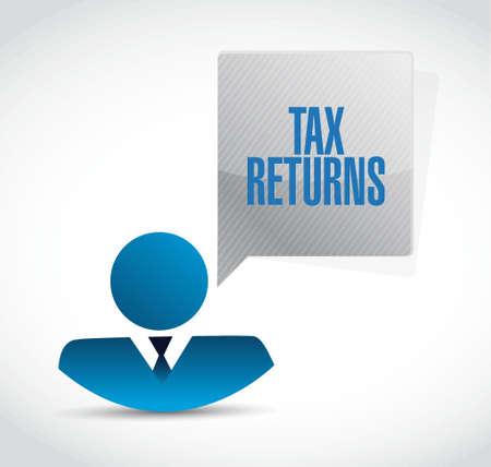 tax returns: tax returns businessman sign concept illustration design graphic Illustration