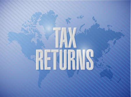Declaraciones de impuestos mapa del mundo signo concepto de ilustración, diseño gráfico Foto de archivo - 52756718