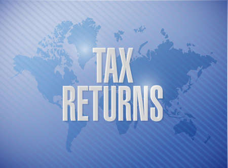 tax returns world map sign concept illustration design graphic Çizim