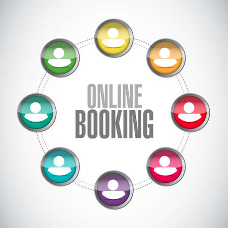 booking: online booking connection sign concept illustration design graphic