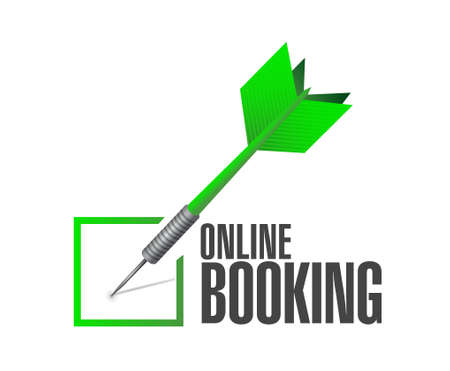 e systems: online booking check mark dart sign concept illustration design graphic