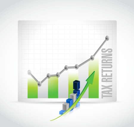 tax returns: tax returns business graph sign concept illustration design graphic