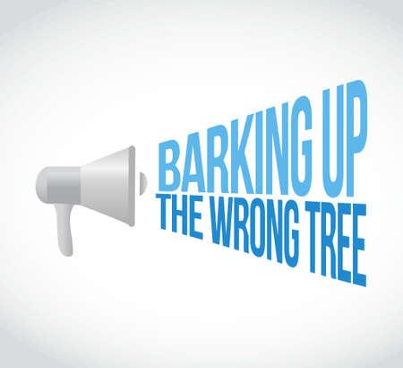 barking up the wrong tree megaphone loudspeaker message illustration design graphic Illustration