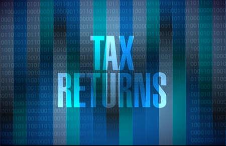 returns: tax returns binary background sign concept illustration design graphic