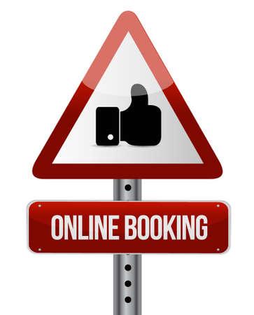 booking: online booking warning road sign concept illustration design graphic Illustration