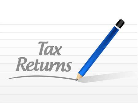 returns: tax returns message sign concept illustration design graphic Illustration