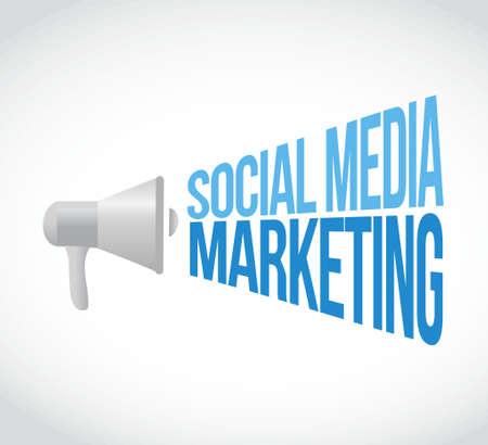social media marketing megaphone message concept illustration design graphic Illustration