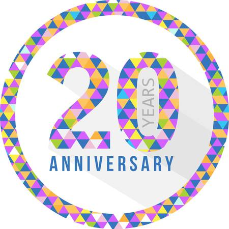 20th: 20 year anniversary triangle shape sign pattern background illustration design graphic