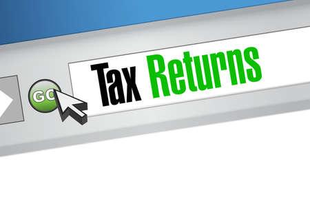 tax returns: tax returns website sign concept illustration design graphic
