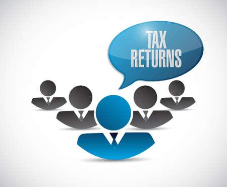 returns: tax returns teamwork sign concept illustration design graphic