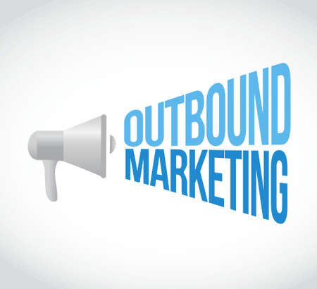 outbound: outbound marketing megaphone message concept illustration design graphic Illustration