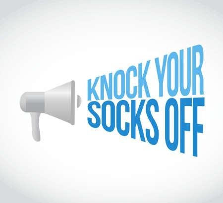 knock: knock your socks off megaphone loudspeaker message illustration design graphic