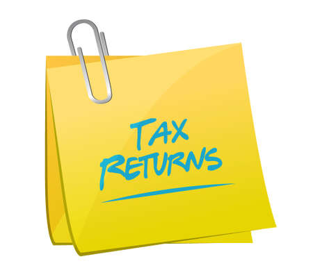 tax returns: tax returns memo post sign concept illustration design graphic