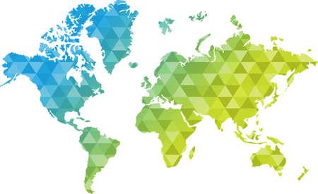 三角形の青と黄色の世界地図イラスト デザイン グラフィック