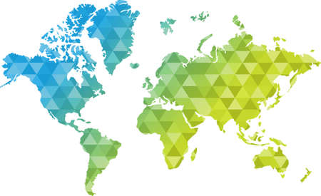 triangle shape blue and yellow world map illustration design graphic Vettoriali