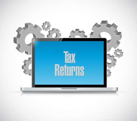 tax returns: tax returns laptop computer sign concept illustration design graphic