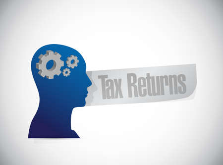 close account: tax returns thinking head sign concept illustration design graphic Illustration