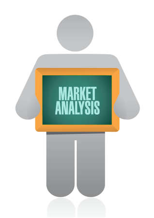 people holding sign: market analysis people holding sign concept illustration design graphic