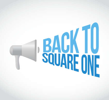 uno: volver al punto de partida megáfono mensaje gráfico, ilustración, diseño de altavoces