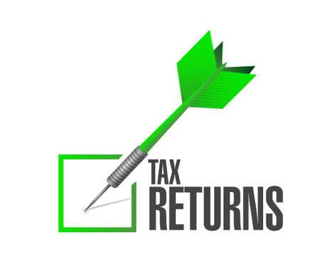 returns: tax returns check dart sign concept illustration design graphic
