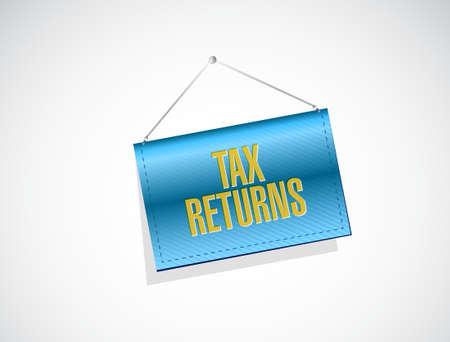 returns: tax returns banner sign concept illustration design graphic